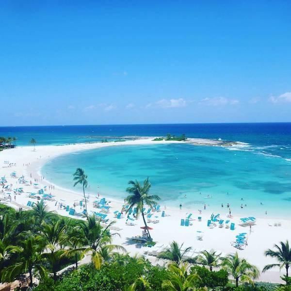 Aerial view of the beach at Atlantis Paradise Island Bahamas