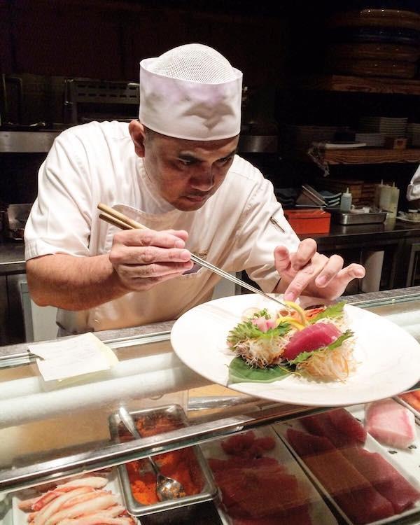 A sushi chef prepares a gorgeous dish at Nobu Restaurant in Atlantis Resort, Paradise Island Bahamas