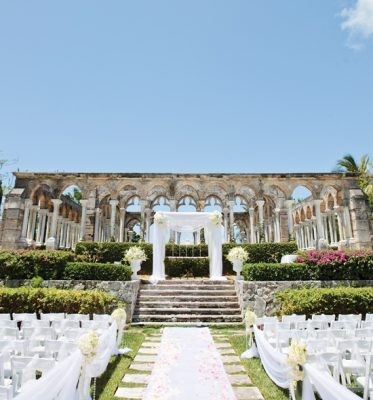 11 photos to inspire your bahamas wedding a beautiful wedding ceremony set up at the cloisters the ocean club a four junglespirit Image collections