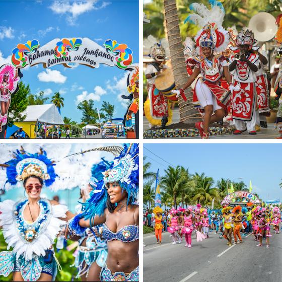 A collage of colorful Junkanoo parades in Nassau, Bahamas.
